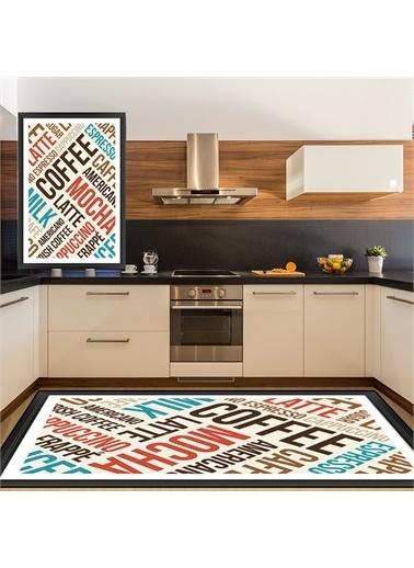 Halı Renkli Kahve Yazılı Modern Mutfak Halıları 80X150Cm Renkli